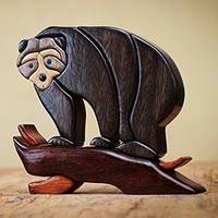 Wood sculpture, 'Andean Black Bear'