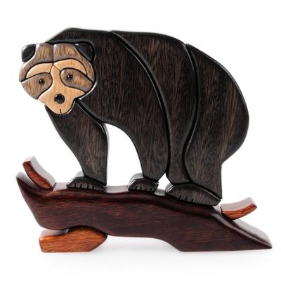 Wood sculpture, 'Andean Black Bear' - Artisan Crafted Wood Sculpture