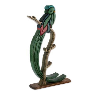 Wood sculpture, 'Quetzal Bird' - Unique Ishpingo Wood Sculpture