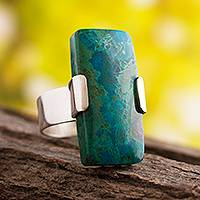 Chrysocolla cocktail ring, 'Hug' - Unique Sterling Silver and Chrysocolla Cocktail Ring