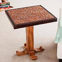 Cedar and leather accent table, 'Colonial Marigold' - Colonial Wood Leather Brown Side Table Furniture