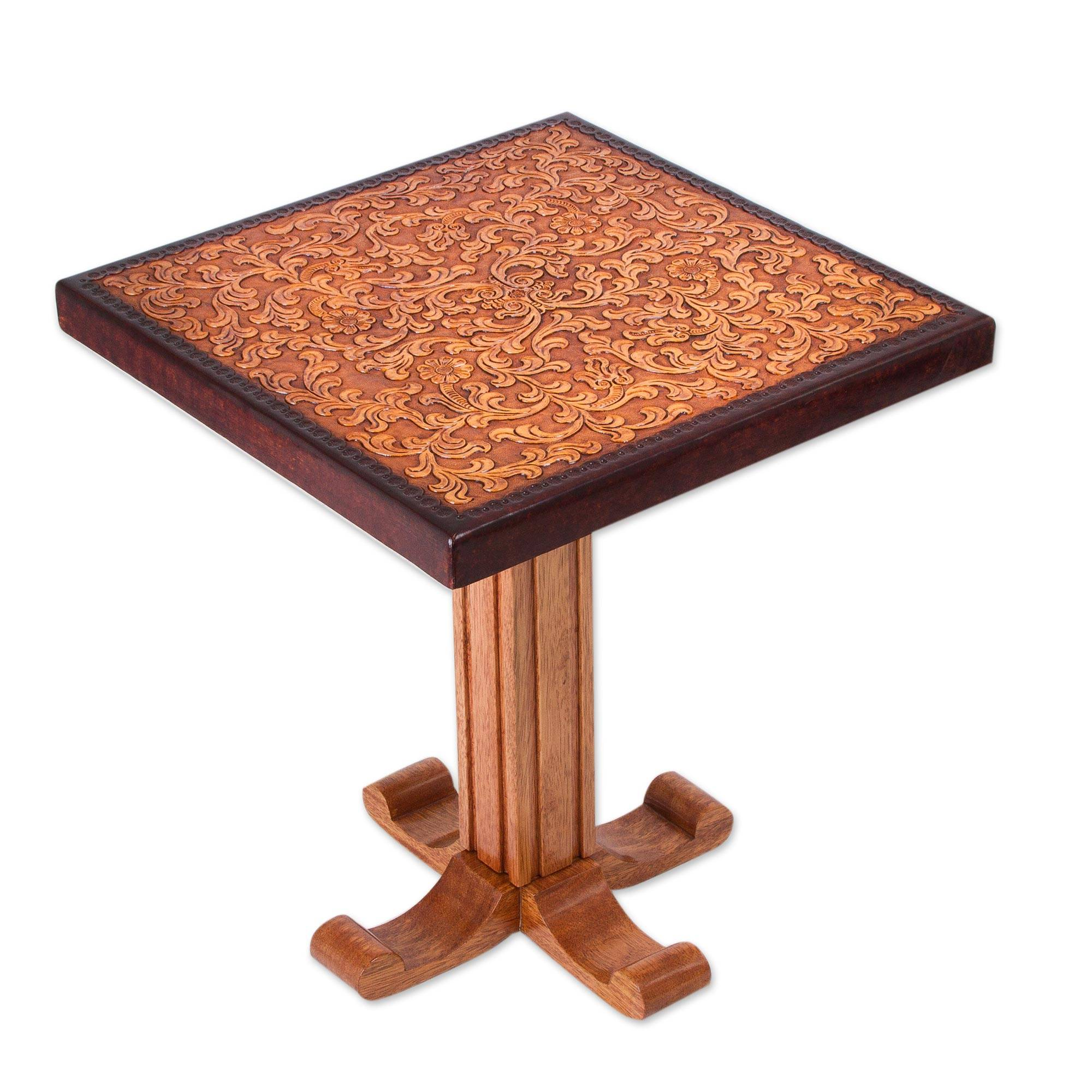 Colonial wood leather brown side table furniture colonial colonial wood leather brown side table furniture colonial marigold novica biocorpaavc