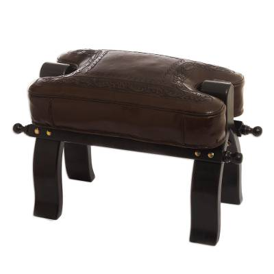 Mohena wood and leather stool, 'Colonial Wreath' - Unique Colonial Leather Wood Ottoman Stool