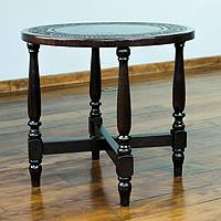 Mohena wood and leather table, 'Round Colonial Guard' - Handmade Colonial Wood Leather Side Table