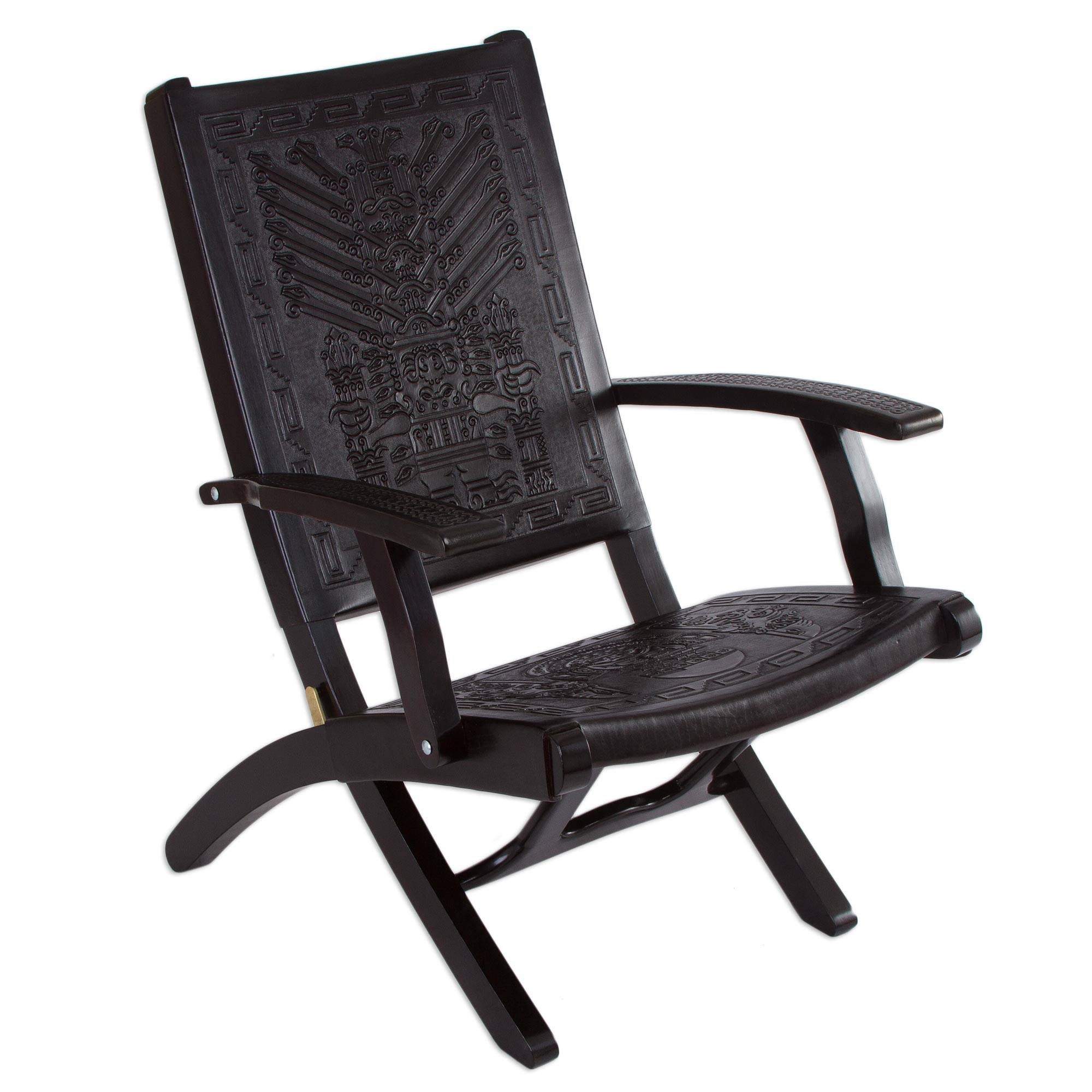 Hand Made Contemporary Leather Wood Chair Inca Gods