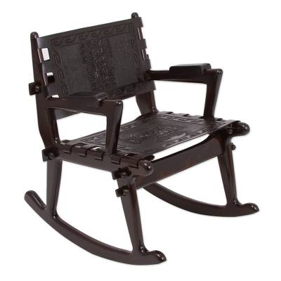 Tornillo wood and leather rocking chair, 'Chavin Deities' - Tornillo wood and leather rocking chair
