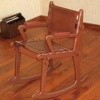 Mohena wood and leather rocking chair, 'Colonial Country' - Handcrafted Colonial Leather Wood Rocking Chair