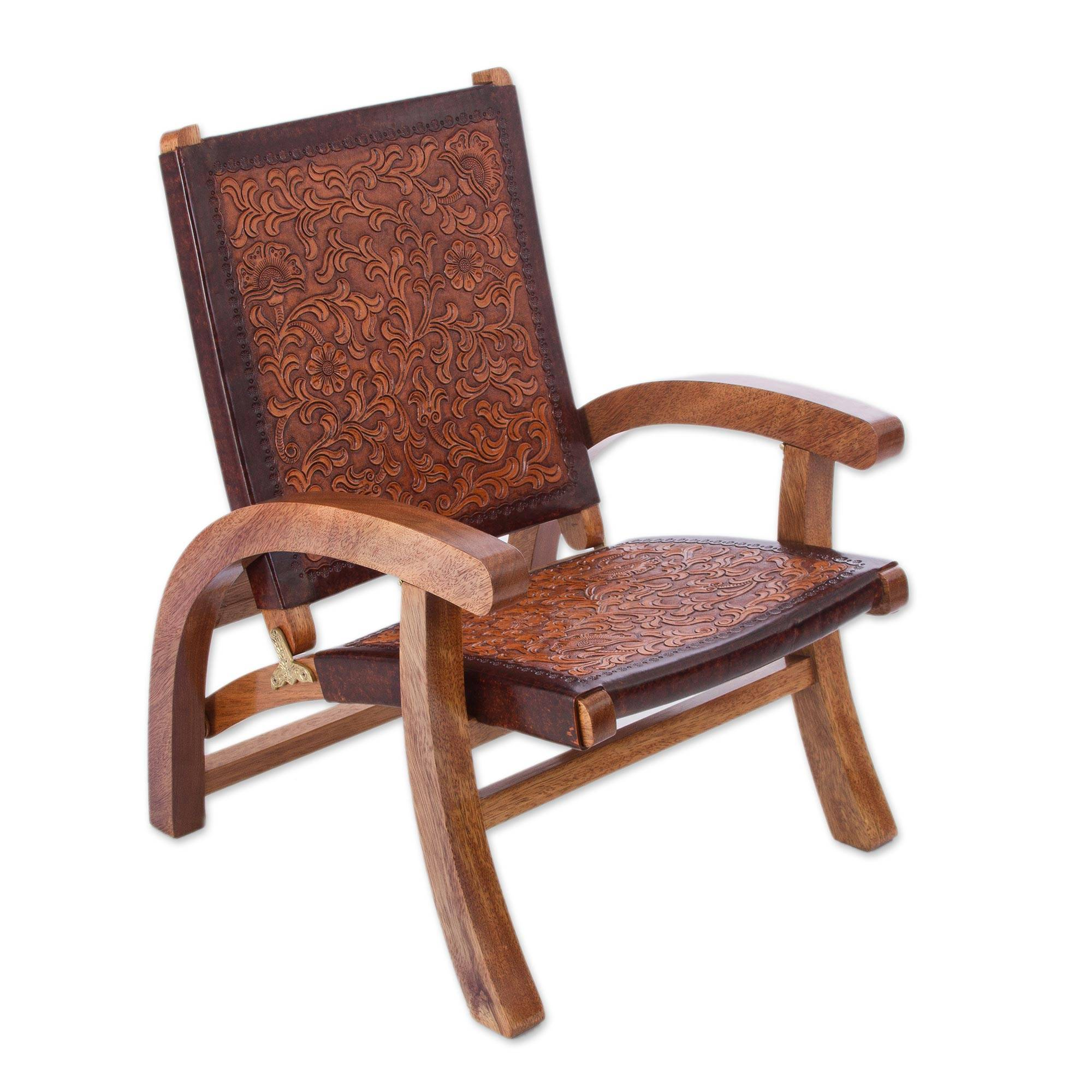 Unicef Market Handcrafted Colonial Leather Wood Chair Colonial Honey