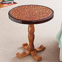 Tornillo wood and leather accent table, 'Colonial Floral Light'