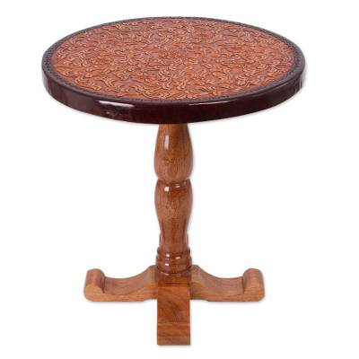 Tornillo wood and leather accent table, 'Colonial Floral Light' - Tornillo wood and leather accent table