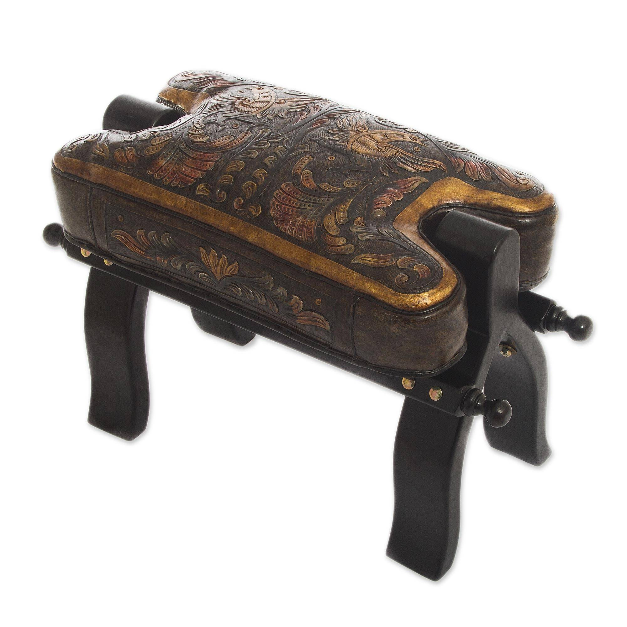 Hand Made Leather Wood Footstool Vaulted Horse Seat - Bird of Paradise | NOVICA  sc 1 st  Novica & Hand Made Leather Wood Footstool Vaulted Horse Seat - Bird of ... islam-shia.org