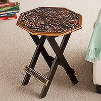 Mohena wood and leather folding table, 'Octagonal Birds of Paradise'