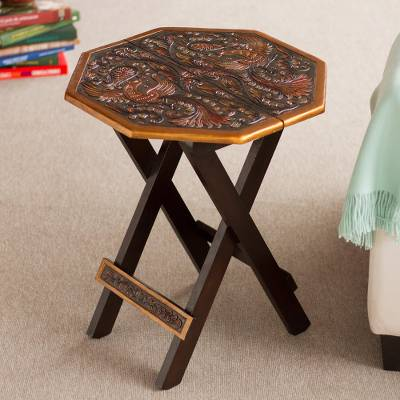 Mohena wood and leather folding table, Octagonal Birds of Paradise