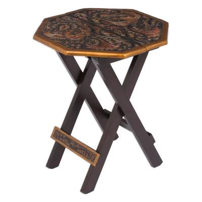 Mohena wood and leather folding table, 'Octagonal Birds of Paradise' - Peruvian Animal Themed Leather Wood Folding Table