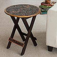 Mohena wood and leather folding table, 'Andean Birds' - Hardwood Round Folding Table with Handtooled Leather