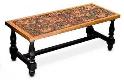 Mohena wood and leather coffee table, 'Andean Birds' - Mohena wood and leather coffee table