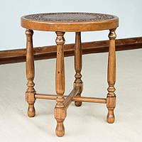 Mohena wood and leather  table, 'Colonial Light' - Mohena wood and leather  table