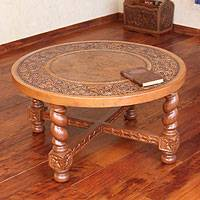 Mohena wood and leather table, 'Salomonica' - Collectible Wood Leather Coffee Table Furniture