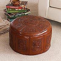 Tooled leather ottoman cover, 'Inca Light' - Fair Trade Traditional Leather Pouf Ottoman Cover