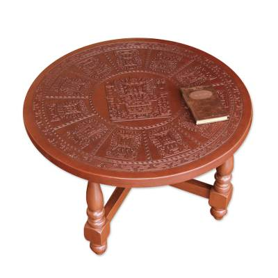 Bon Mohena Wood And Leather Coffee Table, U0027Andean Heritageu0027   Colonial Leather  Wood Coffee