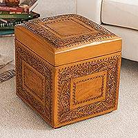 Leather ottoman, 'Golden Colonial Ivy'