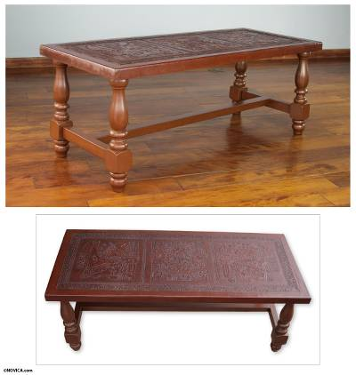Peruvian Traditional Leather Wood Coffee Table Andean Elegance