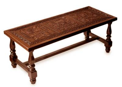 Mohena wood and leather coffee table, 'Andean Elegance' - Peruvian Traditional Leather Wood Coffee Table