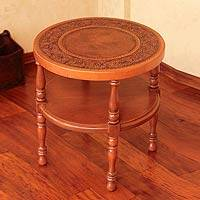 Mohena wood and leather accent table, 'Andalusia' - Mohena wood and leather accent table