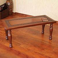 Mohena wood and leather coffee table, 'Forest Memoirs' - Mohena wood and leather coffee table
