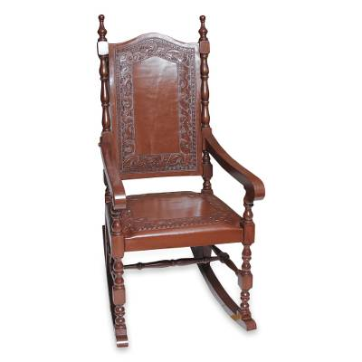 Mohena Wood And Leather Rocking Chair, U0027Inca Aristocratu0027   Inca Leather Wood  Rocking