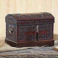 Mohena wood and leather jewelry box, 'Colonial Treasure' - Handmade Jewelry Box of Leather and Wood from Peru