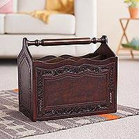 Mohena wood and leather magazine rack, 'Gracious Home' - Hand Crafted Colonial Leather Wood Magazine Rack Furniture