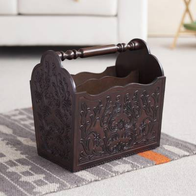 Mohena wood and leather magazine rack, 'Colonial Splendor' - Wood And Leather Hand Tooled Magazine Rack