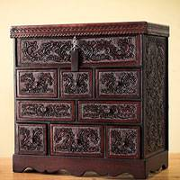 Mohena wood and leather jewelry box, 'Travel Chest' - Tooled Leather Jewelry Box Handmade in Peru
