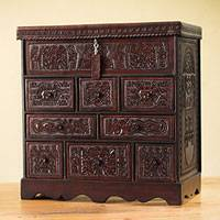 Mohena wood and leather jewelry box, 'Ancient Legacy' - Colonial Wood Leather jewellery Box and Decorative Chest