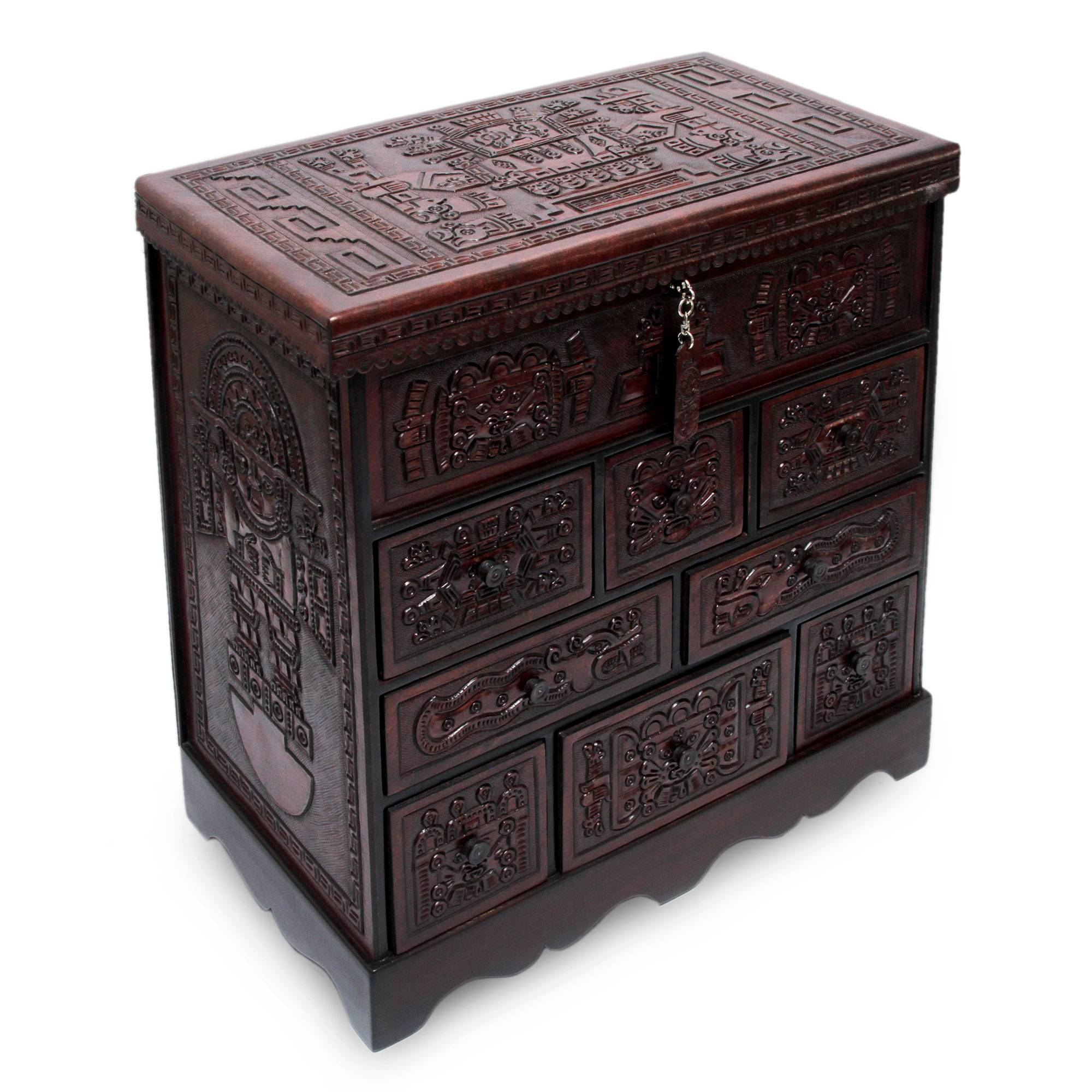 Colonial Wood Leather Jewelry Box And