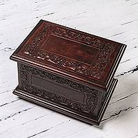 Mohena wood and leather jewelry box, 'Andean Elegance' - Colonial Wood Leather jewellery Box