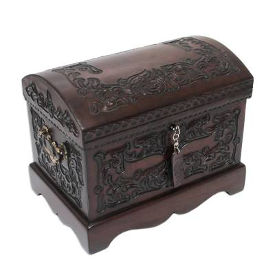 Mohena wood and leather jewelry box, 'Colonial Mystique' - Unique Colonial Wood Leather jewellery Box