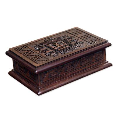 Cedar and leather jewelry box, 'Inca Sun God' - Jewelry Box Leather Embossed Cedar Wood from Peru