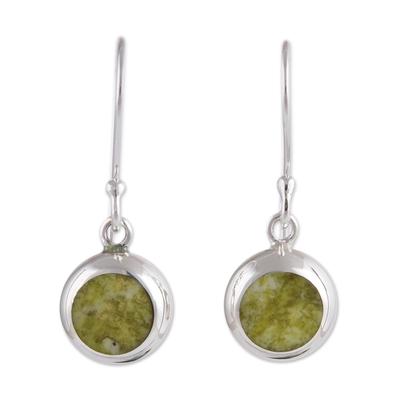 Serpentine dangle earrings, 'Lady of Barranco' - Sterling Silver Dangle Serpentine Earrings