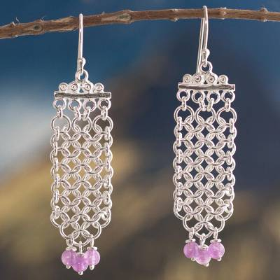 Amethyst waterfall earrings, 'Inca Damsel' - Amethyst waterfall earrings