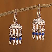 Sodalite waterfall earrings, 'Refreshing Rain' - Sodalite and Silver Chandelier Earrings from Peru