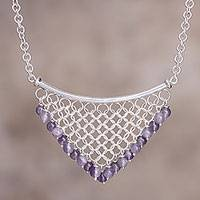 Amethyst waterfall necklace, 'Inca Damsel' - Amethyst and Silver Waterfall Necklace