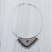Obsidian waterfall choker, 'Andean Dream'
