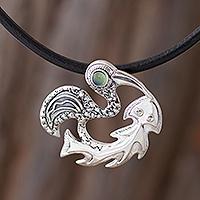 Opal pendant necklace, 'Inca Cormorant' - Andean Pre-Hispanic Bird Theme Opal Pendant Necklace