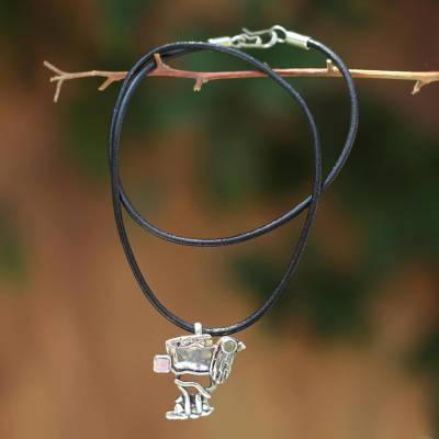 Leather and opal necklace, 'Quirky Sloth' - Handcrafted Leather and Opal Pendant Necklace