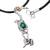 Leather and chrysocolla pendant necklace, 'Amazon Flamingo' - Leather and chrysocolla pendant necklace (image 2c) thumbail