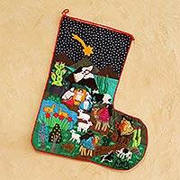Applique Christmas stocking, 'The Arrival of the Magi'