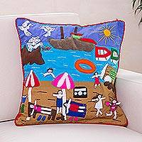 Applique cushion cover, 'Summer Fun' - Unique Folk Art Applique Cushion Cover