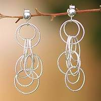 Silver dangle earrings, 'Sumaq' - Modern Fine Silver Dangle Earrings